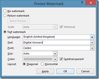 Insert Text Watermark in Word document