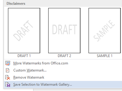 Save selection to Watermark Gallery