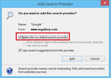 make default search engine in Internet Explorer