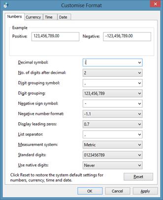 Customize Decimal Symbol in Windows