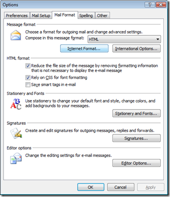 Editor Options Outlook 2007