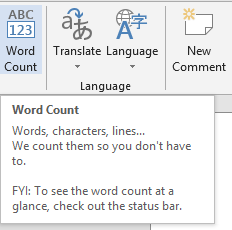 Word Count in Word 2013, Word 2010 and Word 2007