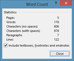 Words and Characters Count statistics in Word 2013, Word 2010 and Word 2007