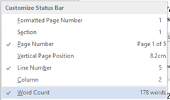 Display Word count in Status bar in Word 2013, Word 2010 and Word 2010