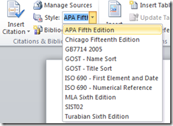 Change bibliography style in Word 2013 and Word 2010