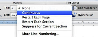 Word 2011 for Mac Continuous numbers