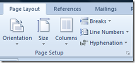 Page Layout Menu in Word 2013 and Word 2010