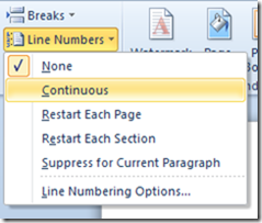 Line numbers in Word 2013 and Word 2010