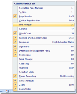 Display line number in status bar in Word 2013, Word 2010 and Word 2007