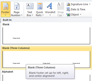 Insert Footer in Word 2010