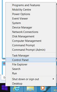 Access Control Panel on Windows 8
