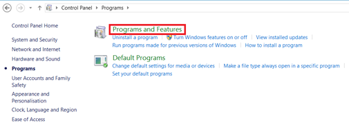 Windows 8 Program Features
