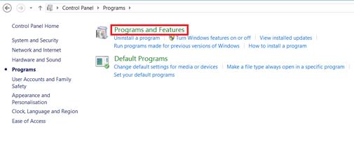Windows 8 Program Features