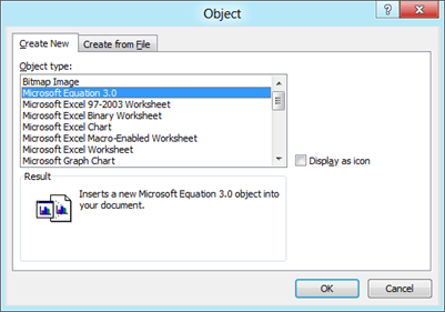 Insert Microsoft Equation