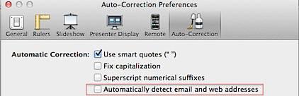disbale hyperlinks in Keynote