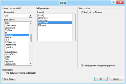 Field Options Word 2010