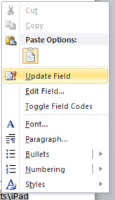 Update Field Word 2010
