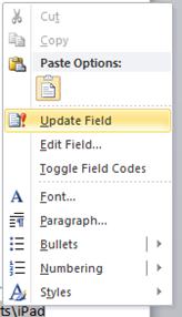 Update Field Word 2010