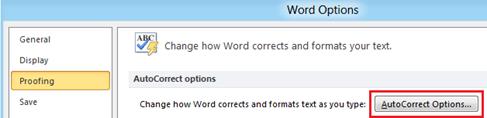 Word Options Word 2010