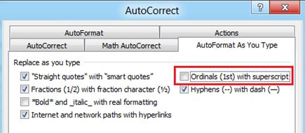 Ordinals with superscript