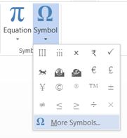 More Symbols in Word 2013