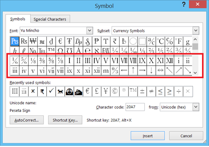 Numeric Symbol in Microsoft Word