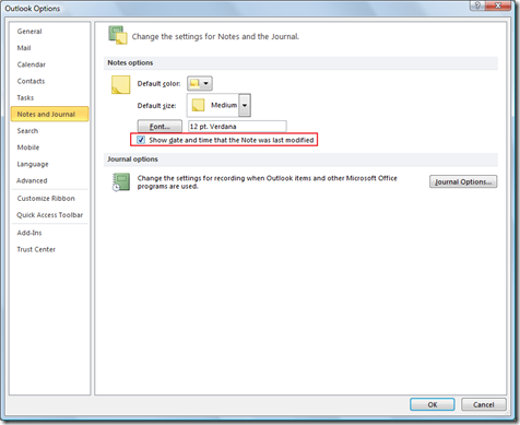 show or hide date and time in Outlook 2013, Outlook 2010 notes