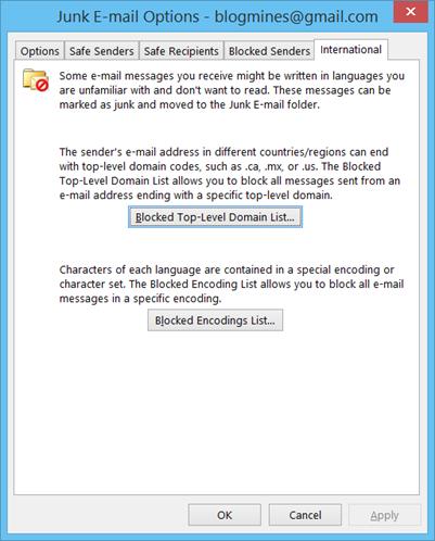 Blocked Top-Level Domain List Outlook 2013