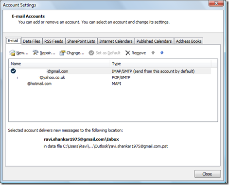 Email accounts in Outlook 2013 and Outlook 2010