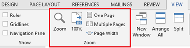 Zoom in Word 2013 and Word 2010