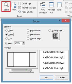 Zoom menu option in Word 2013 and Word 2010