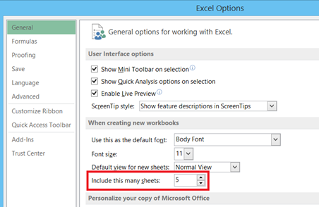 increase sheets in Workbook in Excel 2013